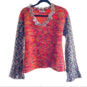 Essex Multi-Color Wool and Rabbit Fur Sweater